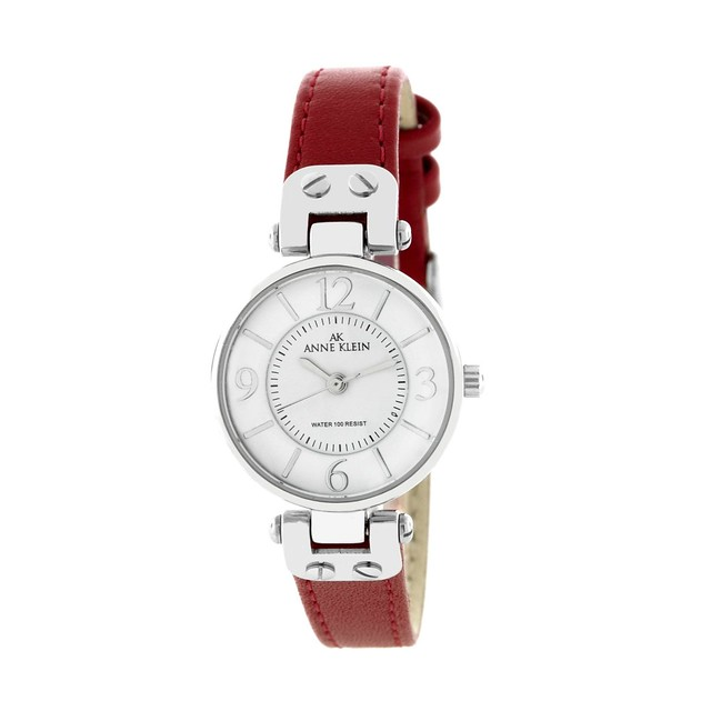 安妮·克莱因AK Anne Klein Women's 109443WTRD Silver-Tone White Dial and Red Leather Strap Watch时装红色皮带女表