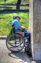 Up against the wall... (Hans Kool) Tags: wheel wall greek europe wheelchair parties athens greece angry disabled government financial economy crisis athene finance hopeless boos griekenland recession griek economie invalide rolstoel economical upagainstthewall mistreat hopeloos uitzichtloos