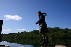 Flying Kilt Boy 10 (rickthebastard) Tags: selfportrait flying washington utilikilt kilt levitation ponytail homage mossyrock kiltboy didimentionflying harmonylakesidervpark