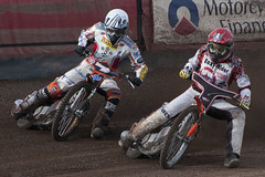 Battling for Position (Richard Amor Allan) Tags: bike mud bikes cycle stokeontrent rider speedway cycles riders motorcyles scunthorpesaints tonyatkin jerranhart stokepotters loomerroad