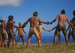 Haka Pei, Before The Banana Competition During Tapati Festival, Easter Island, Chile (Eric Lafforgue) Tags: chile shirtless sky color colour latinamerica southamerica muscles festival horizontal danger chili pacific muscular ceremony worldheritagesite attitude pacificocean warrior holdinghands easterisland loincloth strenght ethnicity colorphoto rapanui isladepascua hangaroa southpacificocean  largegroupofpeople  ili  muscularbuild polynesianisland 0754 onlymidadultmen   ile    southeasternpacificocean polynesiantriangle chileanpolynesia