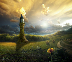 (`Kevin WangWANG CHI WEN)) Tags: light sun sunlight tower beautiful clouds fantasy sunflowers imagination hay lovely bales fantasie fantasa