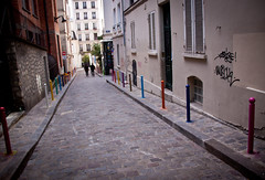 Rue Andre Antoine - Abbesses, Montmartre, Paris (ChrisGoldNY) Tags: travel paris france streets french graffiti colorful europa europe european forsale eu montmartre cobblestone viajes posters vacations streetscenes bookcovers albumcovers alleys abbesses rueandreantoine chrisgoldny chrisgoldberg chrisgold chrisgoldphoto