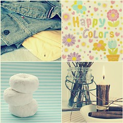 Gymkana XVI - Happy Colors (Ƹ̴lizαbeth ۫◦۪°) Tags: collage shirt candle polkadots donuts vela flowerpower gymkana happycolors