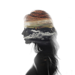 HOME (Melania Brescia) Tags: city sunset home girl face silhouette clouds exposure double multipleexposure highkey