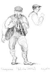 Zampognere (pedro scassa) Tags: rome roma moleskine illustration watercolor sketch drawing pedro ilustrao desenho penandink aquarela bozzetto acquerello blocknotes illustrazione scassa esquete urbansketchers pedroscassa