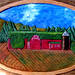 Painted woodcarving of barn in Lake Placid. Artist: CPeter Ordway