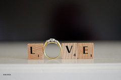 Love Is A Many Splendid Thing! ~ EXPLORE (BGDL) Tags: diamonds gold ring tiles scrabble nikond7000 ourdailychallenge elementsorganizer nikkor50mm118g 112picturesin2012