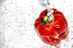Ice Cold Chilli Peppers (coral.bricknell) Tags: red orange green water yellow fun rainbow bright fresh timeexposure peppers splash