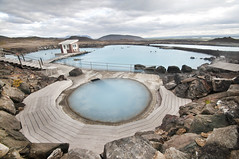 Geothermal Springs I (laverrue) Tags: blue hot nature water pool horizontal iceland spring europe turquoise lagoon countries springs baths heat nordic geology scandinavia spa geothermal sauna myvatn sland vi icelandic mvatn jarbin jardbadsholar lveldi