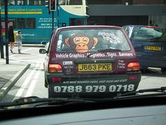 Monkey Vinyls Metro (kenjonbro) Tags: uk england signs kent metro rover 1992 banners quest maidstone hatchback magnetics 3door vehiclegraphics acscb kenjonbro fujifilmfinepixhs10 j663pke monkeyvinyls