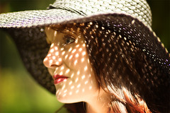 Stef (Philip Payne) Tags: uk summer portrait england sunlight hat horizontal closeup outdoors day emotion tranquility content shade harmony straighthair charming sideview protection essex carefree atmospheric strawhat lookingaway contemplation elegance headandshoulders sunhat brownhair humanface focusonforeground differentialfocus serenepeople