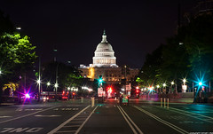 U.S. Capitol - Washington D.C. (romvi) Tags: street usa building cars monument car architecture night lights washingtondc dc washington districtofcolumbia nikon nacht f14 unitedstatesofamerica capital 85mm police maryland voiture uscapitol capitol congress villa capitale avenue rue beacon nuit romain notte batiment congres unitedstatescapitol nohe samyang lumires d700 gyrophares romainvilla romvi samyang85mmf14