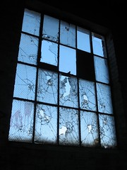 cracked (Mr.  Mark) Tags: sky abandoned broken window glass photo decay stock crack warehouse cracked markboucher