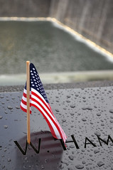 9/11 Memorial (Nicholas Delaney) Tags: city nyc newyorkcity trip travel blue red vacation usa white newyork water memorial unitedstates flag 911 names 911memorial freedomtower