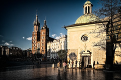 Springtime evening in Krakow (Photos On The Road) Tags: old travel sunset sky urban brick tower heritage history tourism church horizontal stone architecture square outside outdoors town ancient europa europe tramonto exterior outdoor basilica religion gothic serata poland krakow landmark medieval historic unesco chiesa cupola urbano piazza baroque cracow viaggi antico polonia barocco cracovia serale gotico stmarysbasilica medioevale outdoorshots guglia rynekgwny selciato mainmarketsquare piazzadelmercato orizzontale kocimariacki basilicadisantamaria kociwwojciecha outdoorshot churchofstwojciech pavimentazionestradale chiesadisantadalberto allesterno churchofstadalbert