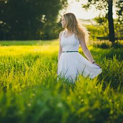 The shame in your defeat (Kaat dg) Tags: light white green nature girl field grass hair 50mm nikon dress bokeh 14 goldenhour d5100