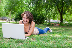 Girl with Laptop Outside