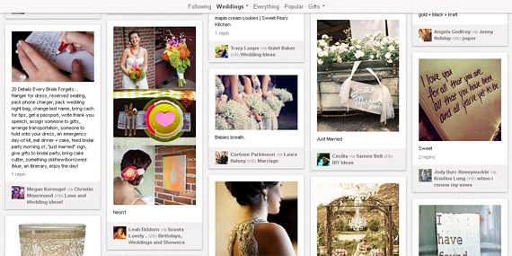 New Weddings category on Pinterest