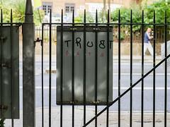 Trust Bits (Magic Pea) Tags: street photo photography magicpea urban london trust bits graffiti ruskinpark denmark hill southlondon sign park