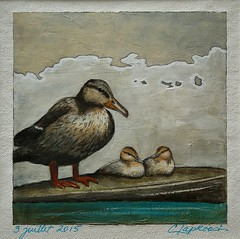 3 juillet 2015 - July 3, 2015 (marieclaprood) Tags: art illustration painting acrylic acrylicpainting dailypainting drawing ducks water birds marieclaprood nature calm