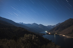 Star Trails over Twin Lakes (DanB.) Tags: night bridgeport astrophotography water longexposure camping trees lighttrails hooverwilderness cartrails moonlight exposurestacking sawtoothridge toiyabenationalforest startrails sky twinlakes california stars dark honeywellhills