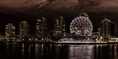 Dark Skies (Sworldguy) Tags: green scienceworld geodesic dome falsecreek condos reflections vancouver longexposure waterscape britishcolumbia bc architecture cityscape citylights wideangle vancity urban skyline yaletown cloudy ominous darkskies water nikon d7000 dslr landscape sphere canada tourism telus outdoor