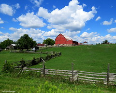 Happy Fence Friday!  -  IN EXPLORE (Lois McNaught) Tags: happyfencefriday barn redbarn fence landscae scene clouds rural rustic burlingtonontariocanada silo