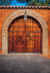 Mike Driscoll 2016 - Gate #1 (Michael Driscoll Jr.) Tags: gate door arch wood stone gateway vestibule portal old ancient aged strong entryway entry enter armored decorative wall doorway