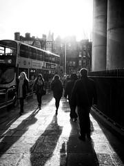 Dublin (dubdream) Tags: dublin ireland city street light blackandwhite black white schwarzweiss sw bw blancoynecro people house fence bus dubdream olympus contralight shadows