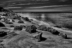 View of Caspersen Beach, Harbor Drive, Venice, Florida, U.S.A. (Jorge Marco Molina) Tags: 10stopfilter venicebeach caspersenbeach sunshinestate harbordrive venice florida usa sarasotacounty seascape rockyshoreline sand rocks gulfofmexico water sea ocean waves longexposure nikond7100 jorgemolina shellingbeaches prehistoricsharkteeth