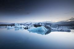 Jokulsarlon in the Blue Hour (Justin Sharer) Tags: jokulsarlon glacier lagoon ice water iceland blue hour 75ndgradsoft polarizer haida canon 1635mm 5dmarkiii leefilters longexposure