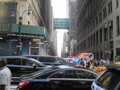 Rush Hour Crowd Walking Past Crime Scene 7th Ave 2016 NYC 5431 (Brechtbug) Tags: akram joudeh attacked an offduty nypd officer with 11inch cleaver from his waistband near penn station height evening rush hour thursday wounding cop face before being shot 18 times by police nyc 2016 midtown manhattan 7th ave 32nd street crowds checking out scene 9152016 new york city crime
