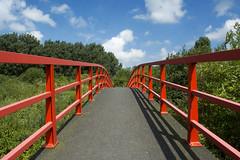 Red footbrigde (Jan van der Wolf) Tags: map16091v bridge brug footbrigde shadow red rood redrule clouds wolken weg pad symmetrie symmetric