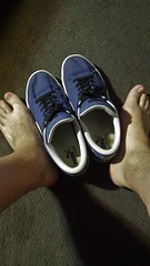 Puma Canvas Blue and Barefeet (DCshoesboy92) Tags: puma sockless shorts feet barefeet blue freeballing freeball
