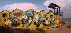 BAYWATCH (v3rbo.com) Tags: graffuturism graffiti graffitilettering graff urbanart streetart abandoned nowhere nowheresite sea seaside baywatch