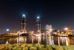 The Pearl! (aliffc3) Tags: thepearl qatar lighting waterfront fountain sonyrx100iv middleeast nightshot lowlightphotography landscape cityscape rocks pond