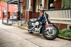 Harley for sale (B. Gohacki) Tags: motorcycle bike harley davidson blue forsale brick machine ricoh pentax dslr k1 35mm f19 lancaster pennsylvania fujinon35mmf19