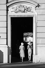 On a sunny afternoon in Vienna (PIXXELGAMES - Robert Krenker) Tags: vienna ladies hat dress candid sunny shining blackandwhite bnw blacknwhite architecture walking fashion monochrome monochrom biancoenero fujifilm fujinon bag bags snapshot street streetstyle lifestyle streetfashion summer latesummer elegant lady frombehind backside