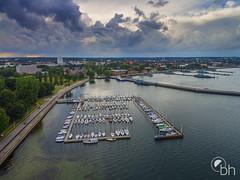 Kiel from above (bhansen.kiel) Tags: kiel schleswigholstein deutschland de above drohne phantom fjord harbor clouds sky water baltic sea perspective