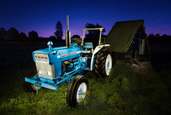 Nightime farming (PhotoSolutions | pure photography) Tags: ford night blue stars tractor ford2000 green nightscape meadow nightphotography field