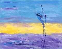 Purple and Yellow Abstract - oil
