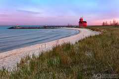 Big Red Light - Holland Harbor South Pierhead Lighthouse (Holland, MI) (Aaron C. Jors) Tags: holland mi lighthouses waves michigan blues lakemichigan greatlakes maritime beaches sunrises pinks bigred michiganlighthouses ottawacounty hollandharbor greatlakeslighthouses lakemichiganlighthouses hallandharborsouthpierheadlighouse