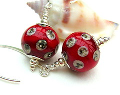 Cardinale - Sold (Beguiled By The Bead) Tags: jewellery pearl earrings lampwork sterlingsilver goldfilled lampworkglassbeads jewelleryearrings redsterlingsilver