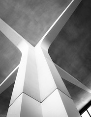 Cross Beams (barkingduck99) Tags: new shadow bw copyright sunlight white abstract black building tower monochrome up lines contrast square concrete high airport soft pattern angle arm bright bare curves bottom under gray cement wide perspective smooth arc ceiling jersey reach concept tilt minimalistic zigzag beams bold richardkownacki
