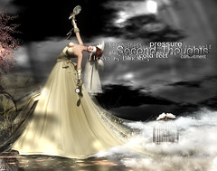 Second Thoughts (Patricie ~ here & there) Tags: wedding woman water photoshop typography bride veil cage secondlife nervous lovebirds corpus clocks glitterati blindfold windlight crackedmirror waterwaves magicnook glamaffair veromodero pocketwatchbroken