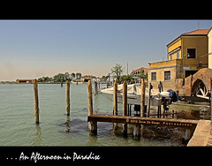 Afternoon by the shore .. is an afternoon in Paradaise (Far & Away (On assigment, mostly off)) Tags: wood venice italy sun water island canal warm europa europe mediterranean mediterraneo italia earth gondola venecia venezia isla channel gondolier gondolero