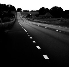 Road to nowhere [EXPLORE] (Marie Granelli) Tags: road bw car skne sweden explore d3000