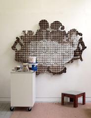 Celebration - in progress (Enno de Kroon) Tags: art paper paperart recycledart inprogress topv777 cubism artistsstudio eggcubism