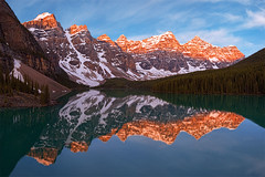 """Epic"" - Lake Moraine Sunrise, Banff Alberta Canada (Stephen Oachs (ApertureAcademy.com)) Tags: lake canada reflection sunrise glow alpine banff moraine stephenoachs"